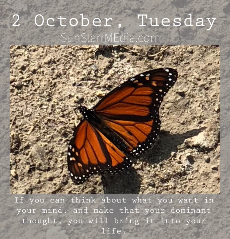 2 October • Tuesday • If you can think about what you want in your mind, and make that your dominant thought, you will bring it into your life.