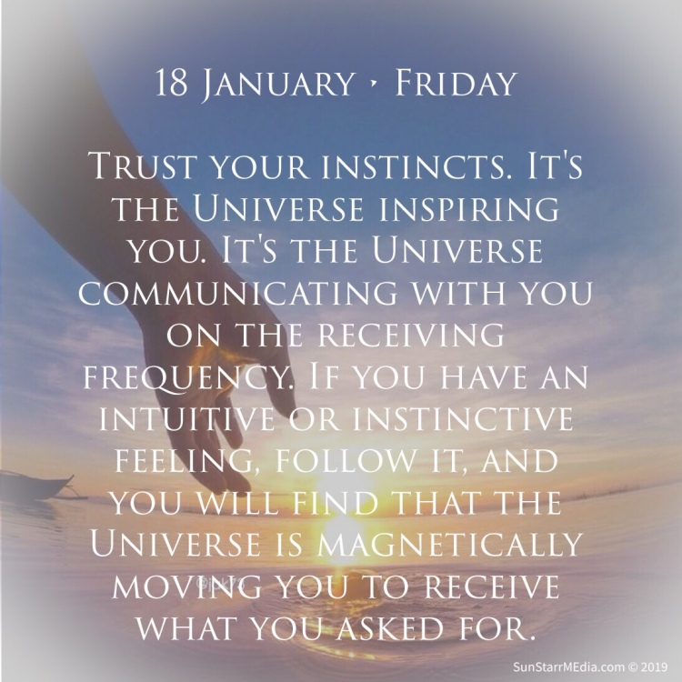 18 January • Friday • Trust your instincts. It's the Universe inspiring you. It's the Universe communicating with you on the receiving frequency. If you have an intuitive or instinctive feeling, follow it, and you will find that the Universe is magnetically moving you to receive what you asked for.