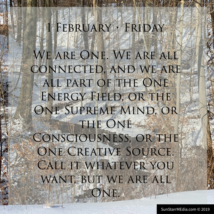 1 February • Friday • We are One. We are all connected, and we are all part of the One Energy Field, or the One Supreme Mind, or the One Consciousness, or the One Creative Source. Call it whatever you want, but we are all One.