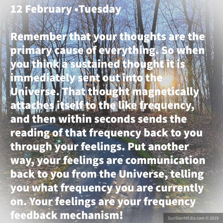 12 February •Tuesday • Remember that your thoughts are the primary cause of everything. So when you think a sustained thought it is immediately sent out into the Universe. That thought magnetically attaches itself to the like frequency, and then within seconds sends the reading of that frequency back to you through your feelings. Put another way, your feelings are communication back to you from the Universe, telling you what frequency you are currently on. Your feelings are your frequency feedback mechanism!