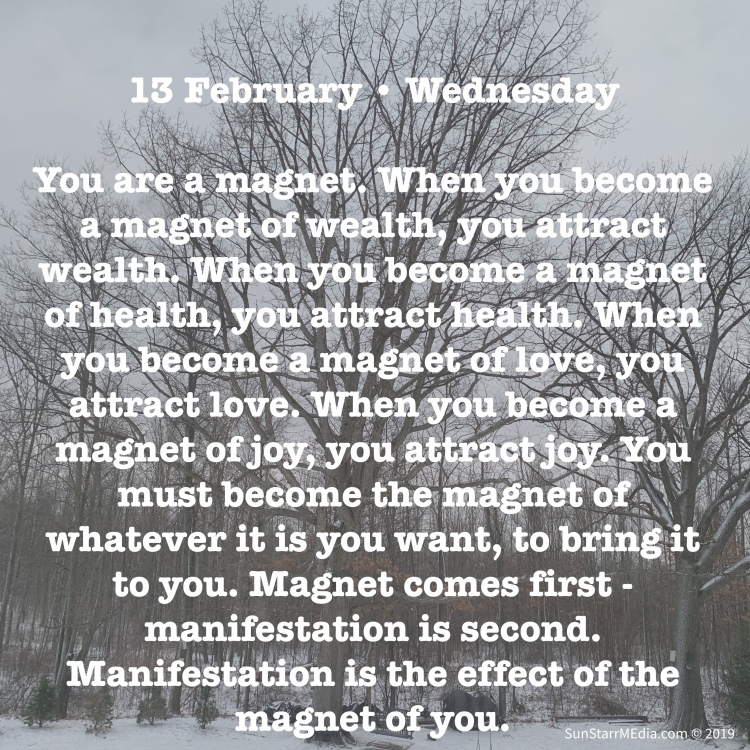 13 February • Wednesday • You are a magnet. When you become a magnet of wealth, you attract wealth. When you become a magnet of health, you attract health. When you become a magnet of love, you attract love. When you become a magnet of joy, you attract joy. You must become the magnet of whatever it is you want, to bring it to you. Magnet comes first - manifestation is second. Manifestation is the effect of the magnet of you.