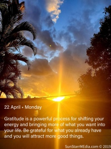 22 April • Monday • Gratitude is a powerful process for shifting your energy and bringing more of what you want into your life. Be grateful for what you already have and you will attract more good things.