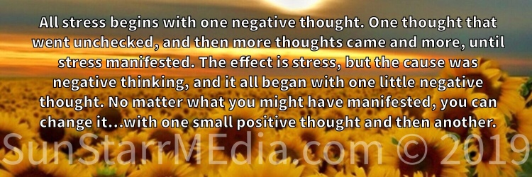 All stress begins with one negative thought. One thought that went unchecked, and then more thoughts came and more, until stress manifested. The effect is stress, but the cause was negative thinking, and it all began with one little negative thought. No matter what you might have manifested, you can change it…with one small positive thought and then another.