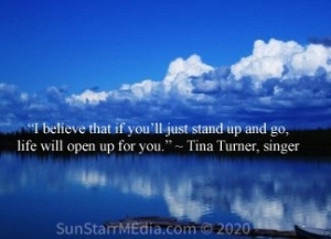 """""""I believe that if you'll just stand up and go, life will open up for you."""" ~ Tina Turner, singer"""