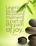 """""""Learning to live in the present moment is part of the path of joy."""" ~ Sarah Ban Breathnach, author"""