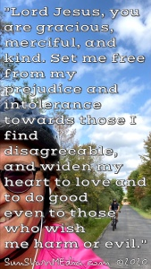 """""""Lord Jesus, you are gracious, merciful, and kind. Set me free from my prejudice and intolerance towards those I find disagreeable, and widen my heart to love and to do good even to those who wish me harm or evil."""""""