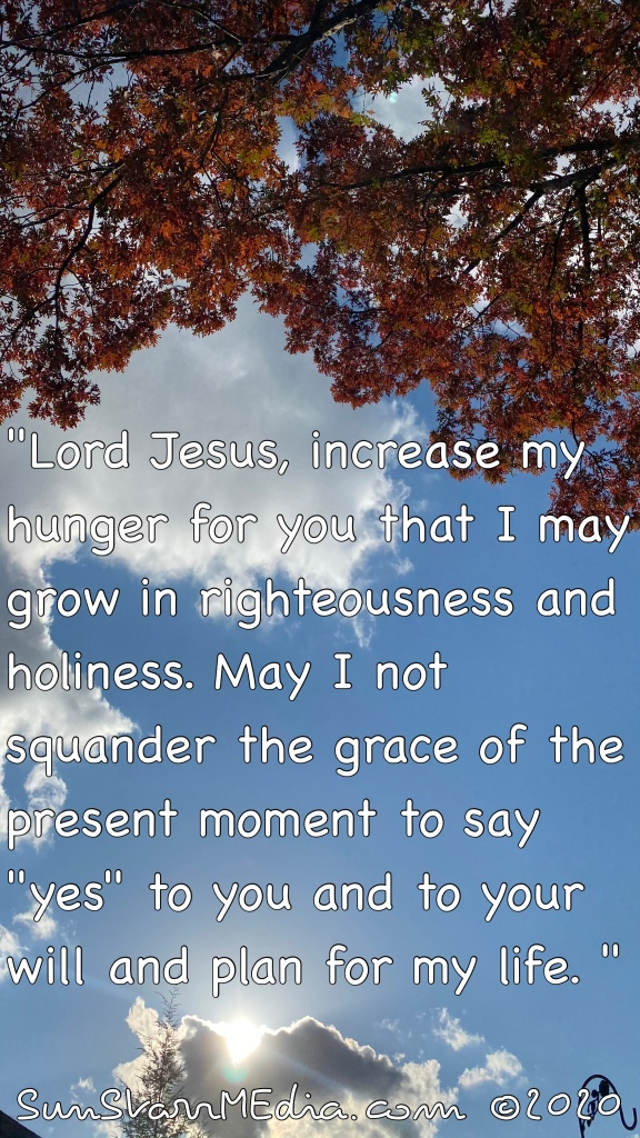 """""""Lord Jesus, increase my hunger for you that I may grow in righteousness and holiness. May I not squander the grace of the present moment to say """"yes"""" to you and to your will and plan for my life. """""""