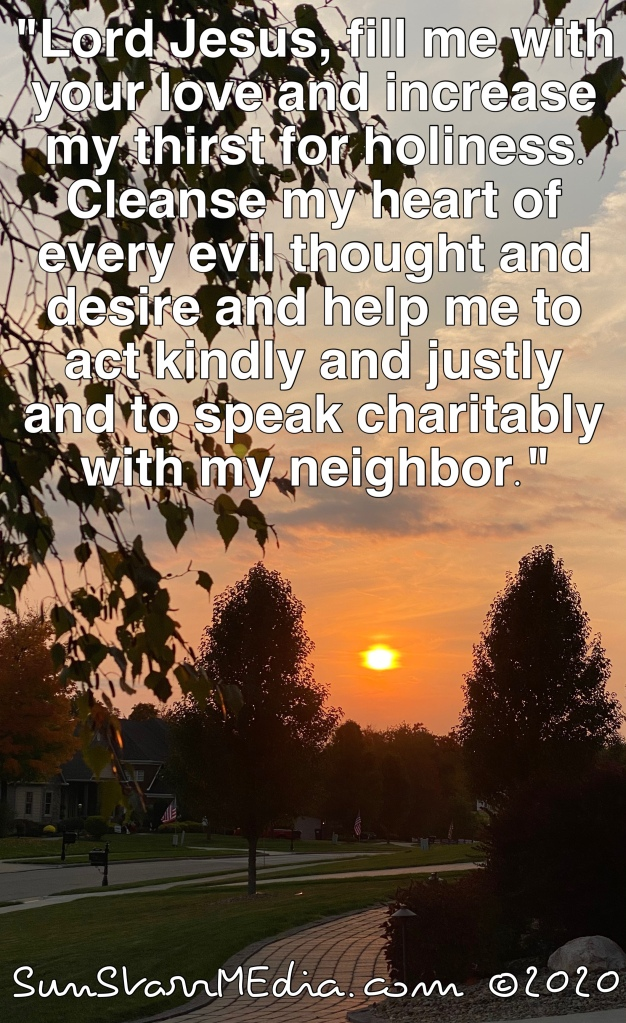 """""""Lord Jesus, fill me with your love and increase my thirst for holiness. Cleanse my heart of every evil thought and desire and help me to act kindly and justly and to speak charitably with my neighbor."""""""