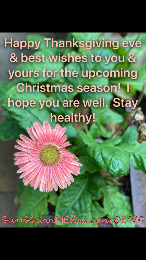 Happy Thanksgiving eve and best wishes to you & yours for the upcoming Christmas season! I hope you are well. Stay healthy!