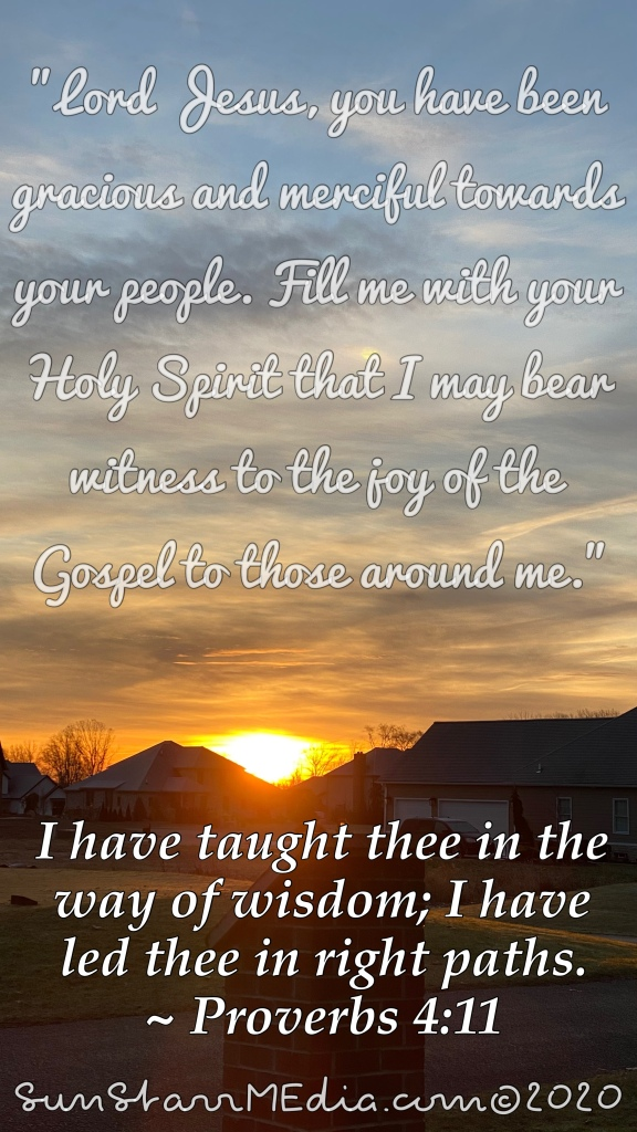 """""""Lord Jesus, you have been gracious and merciful towards your people. Fill me with your Holy Spirit that I may bear witness to the joy of the Gospel to those around me."""""""