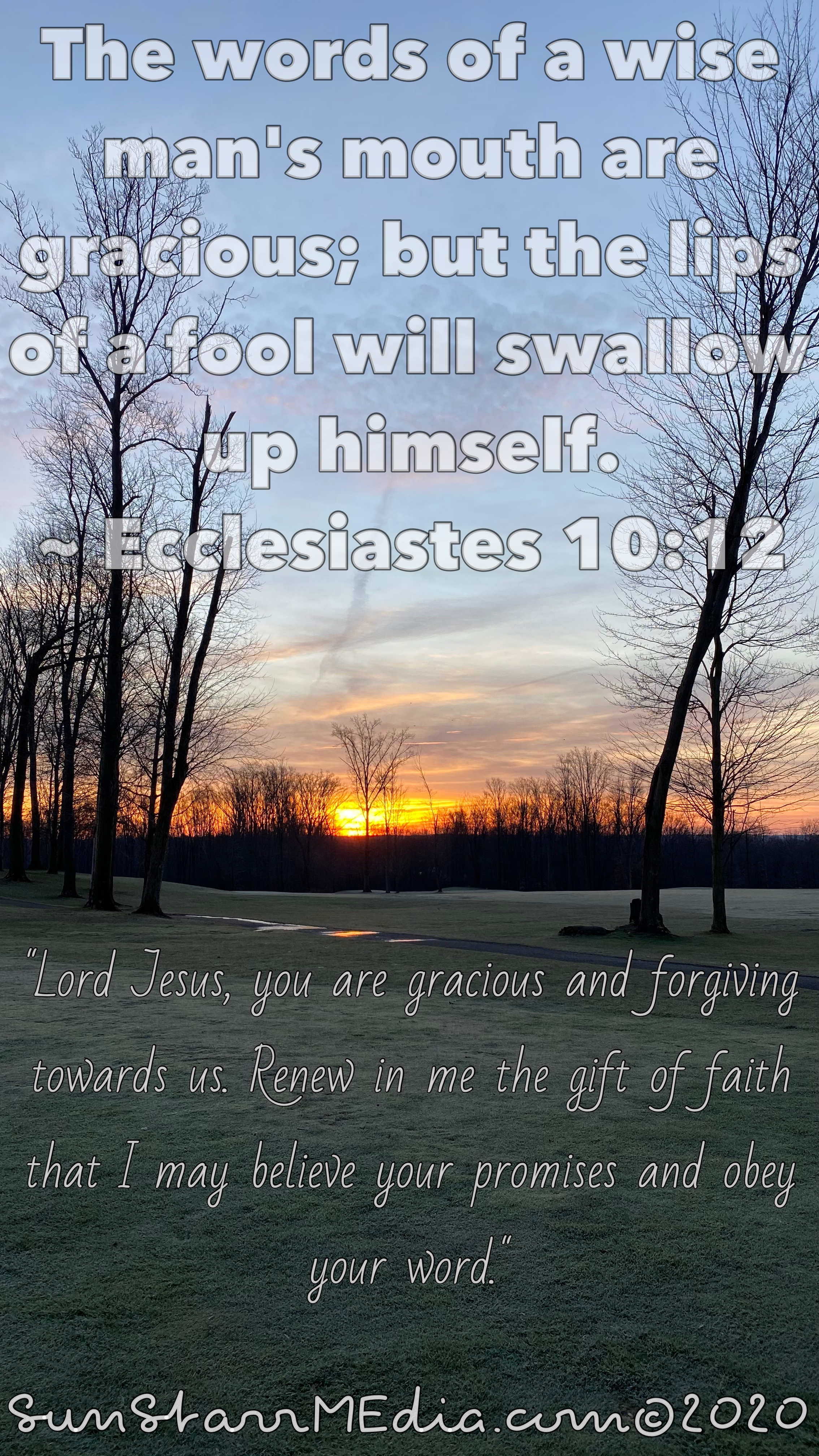 """""""Lord Jesus, you are gracious and forgiving towards us. Renew in me the gift of faith that I may believe your promises and obey your word."""""""